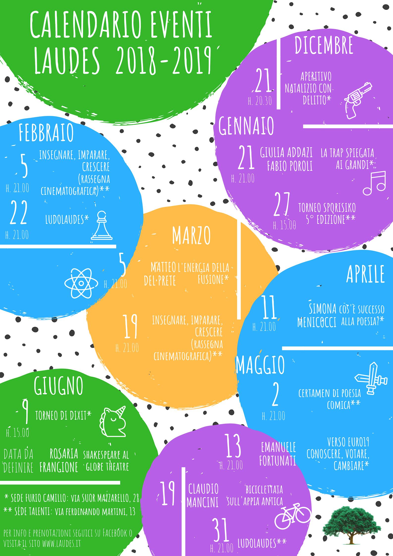 Il calendario delle attività di Laudes